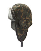 Camouflage-Print Shearling-Lined Aviator Hat