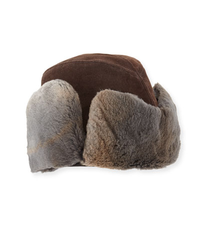 Suede Shearling-Lined Aviator Hat