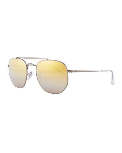 Rounded Square Metal Sunglasses, Gray/Orange