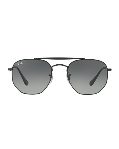 Men's Square Double-Bridge Sunglasses, Black