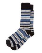 Striped Cotton Socks, Black