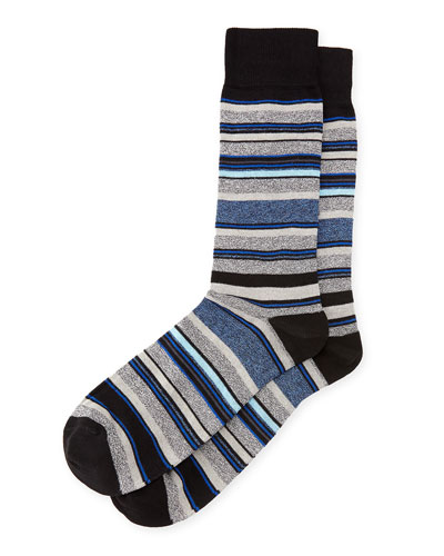 Striped Cotton Socks, Black