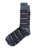 Houndstooth-Striped Wool Socks