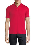 Basic Textured Polo Shirt, Red