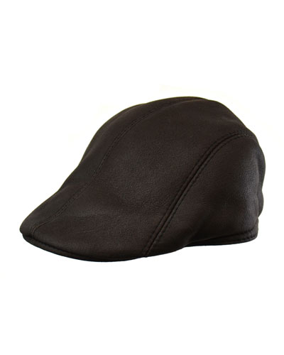 Leather Driver Hat, Black