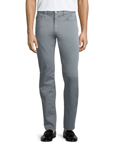 Basic 5-Pocket Slim-Straight Sateen Pants