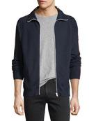Stripe-Trim Zip-Front Sweater