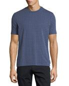 Short-Sleeve Squared Pattern Crewneck T-Shirt