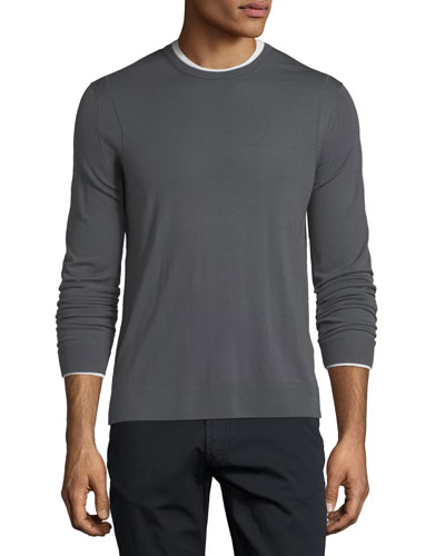 Long-Sleeve Wool Sweater w/ Contrast Trim