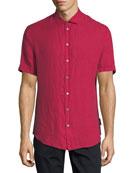 Short-Sleeve Woven Linen Shirt