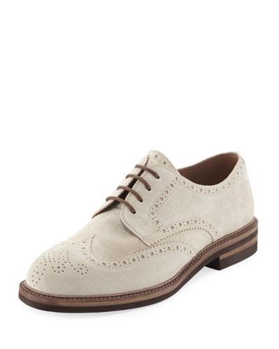 Suede Brogue Wing-Tip Shoe