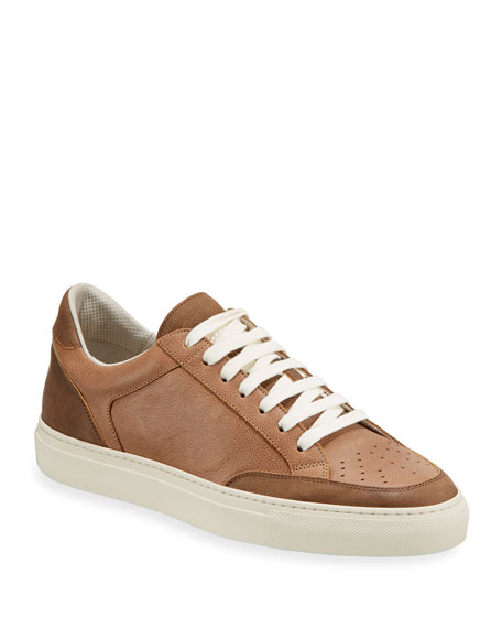 Brunello Cucinelli Men's Colorblock Leather Low-Top Sneakers