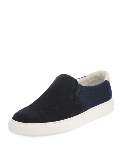 Two-Tone Suede Slip-On Sneaker