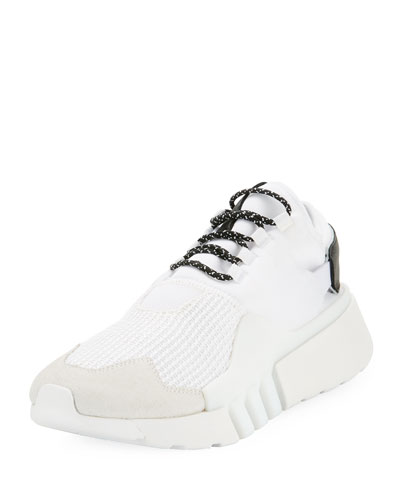 Men's Ayero Leather & Mesh Sneaker, White