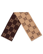 GG Freedom Jacquard Scarf, Brown