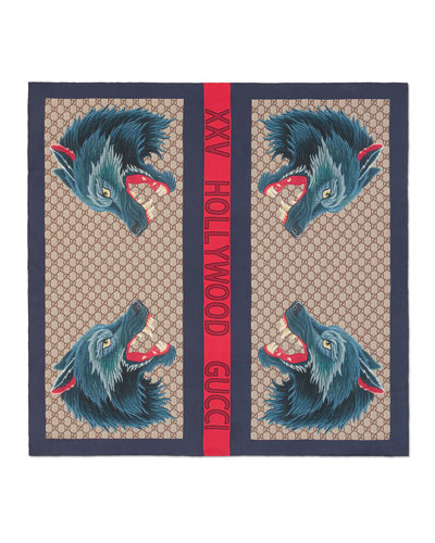Wolf Heads Silk Square Scarf