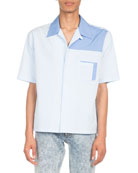 Contrast-Pieced Short-Sleeve Shirt