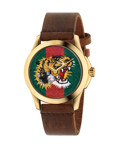 38mm Tiger Face Watch w/ Leather Strap