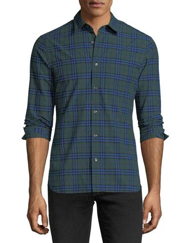 Check-Print Cotton Sport Shirt