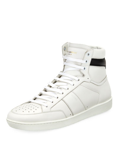 SAINT LAURENT Signature Court Classic Sl/10H Hi-Top Sneakers in White