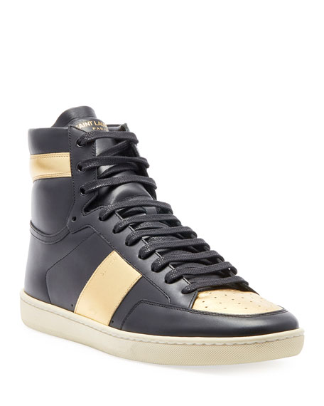 Saint Laurent Men's Metallic High-Top Sneakers