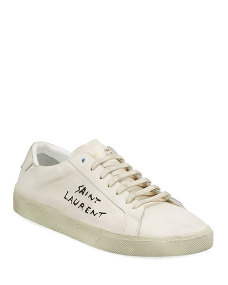 Saint Laurent Men's Canvas Low-Top Sneakers, White