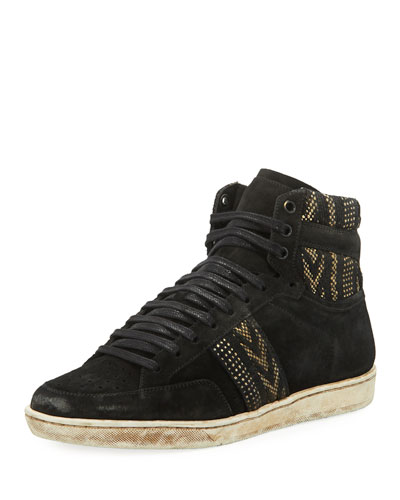 Men's Distressed Ikat Suede High-Top Platform Sneakers, Black/White