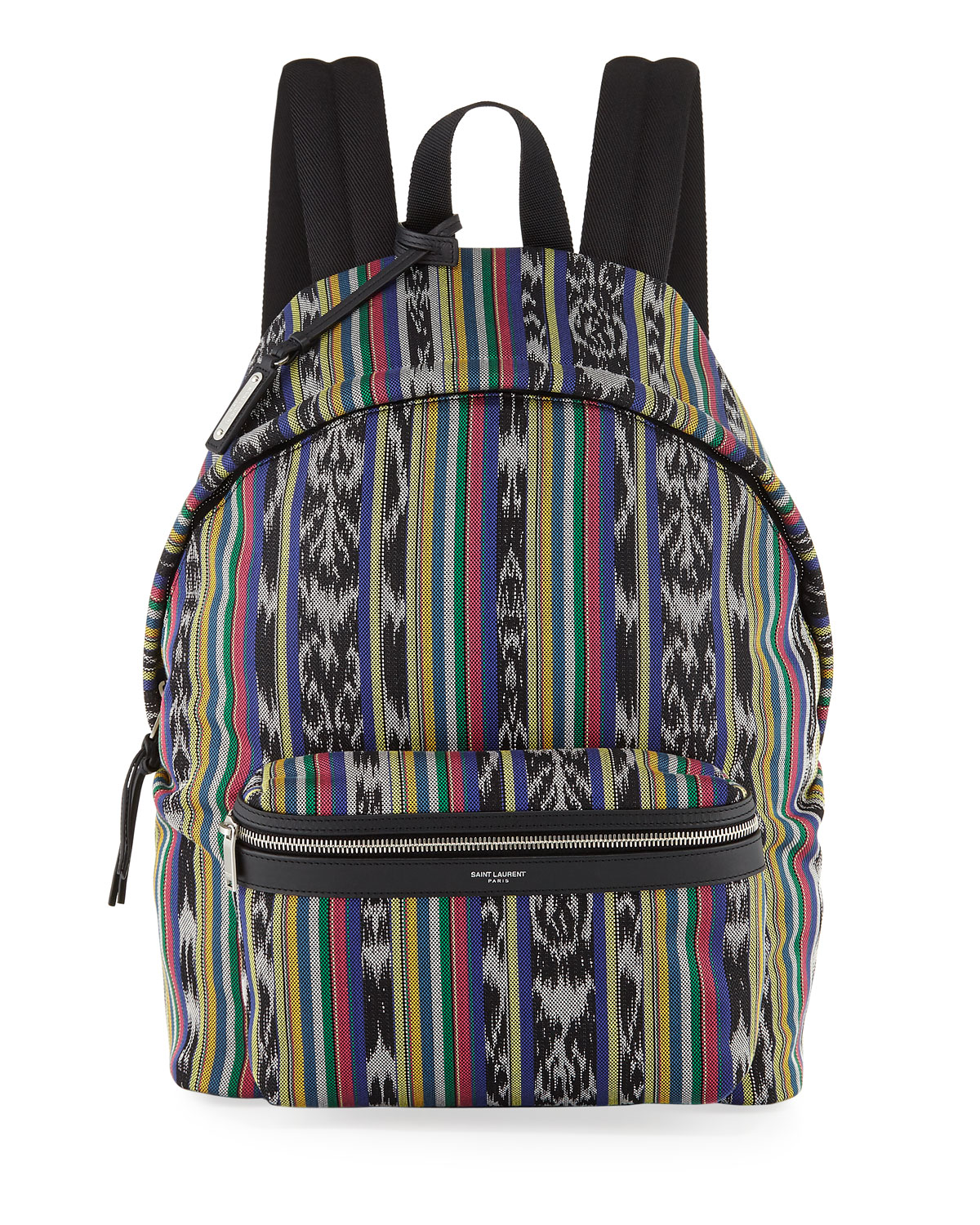 Men's Ikat-Print Leather-Trim Backpack