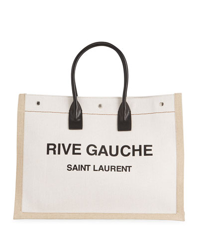 Men's Noe Cabas Large Rive Gauche Canvas Tote Bag