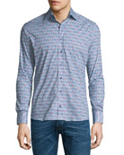 New Warrant Micro Floral-Print Shirt, Blue