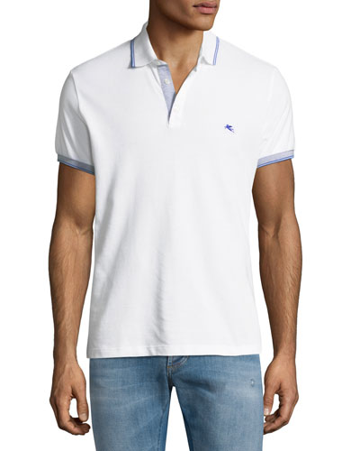 Jersey Cotton Polo w/ Contrast Tipping, White