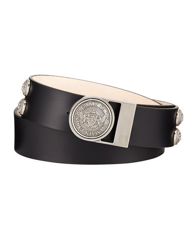 Valley Medallion-Detail Leather Belt