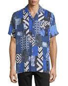 Boxed-Print Linen Short-Sleeve Sport Shirt