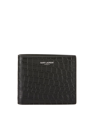 Men's Croc-Embossed Leather Wallet