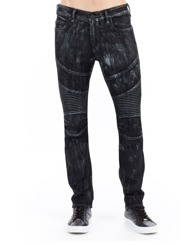 Rocco Skinny Moto Jeans w/ Platinum-Tone Details