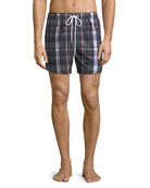 Men's Classic Drawstring Plaid Seersucker Swim Trunks