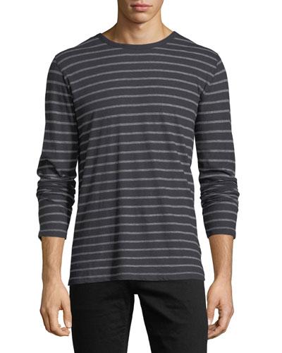 Cotton/Cashmere Crewneck Long-Sleeve Striped T-Shirt