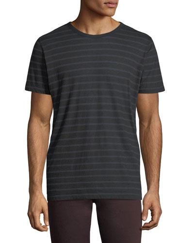 Cotton/Cashmere Crewneck Striped T-Shirt