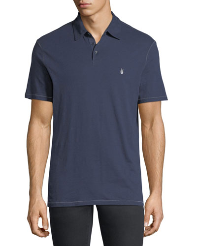 Soft Collar Peace Polo Shirt, Oiled Blue