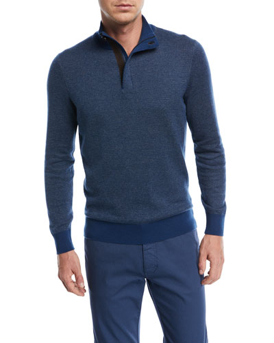 Birdseye-Knit Half-Zip Sweater
