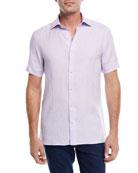 Linen Short-Sleeve Sport Shirt, Purple