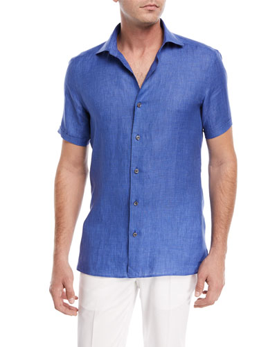 Linen Short-Sleeve Sport Shirt, Blue