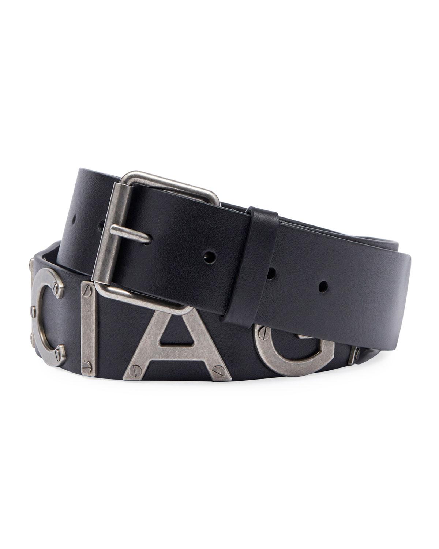 Logo-Lettering Leather Belt