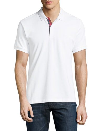 Short-Sleeve Pique Polo Shirt, White
