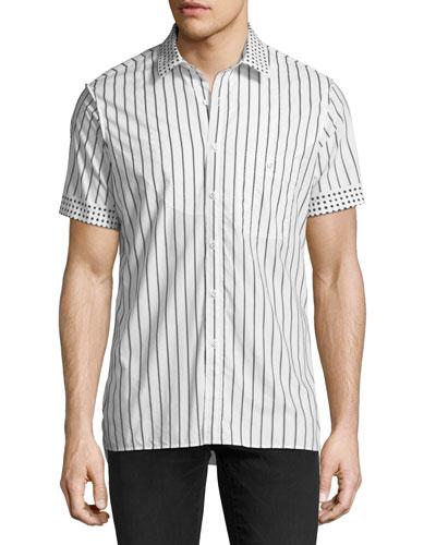 Dot-Trim Striped Short-Sleeve Sport Shirt