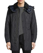 Northumberland Quilted Check-Lined Quilted Jacket