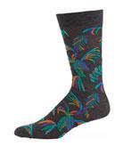 Tuvalu Floral Cotton-Blend Socks