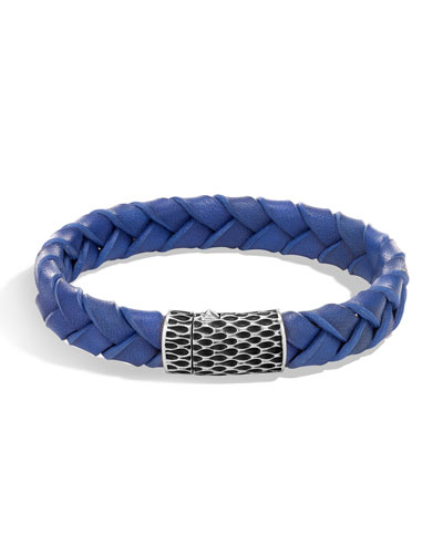 Men's Legends Woven Leather Bracelet, Blue