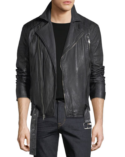 Hunt Lamb Leather Motorcycle Jacket