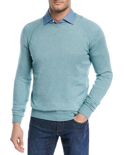 Silk-Cashmere Crewneck Sweater